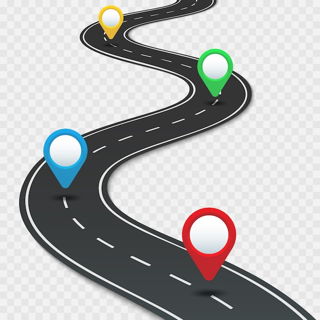 Дорожная карта шоссе с булавками Premium векторы