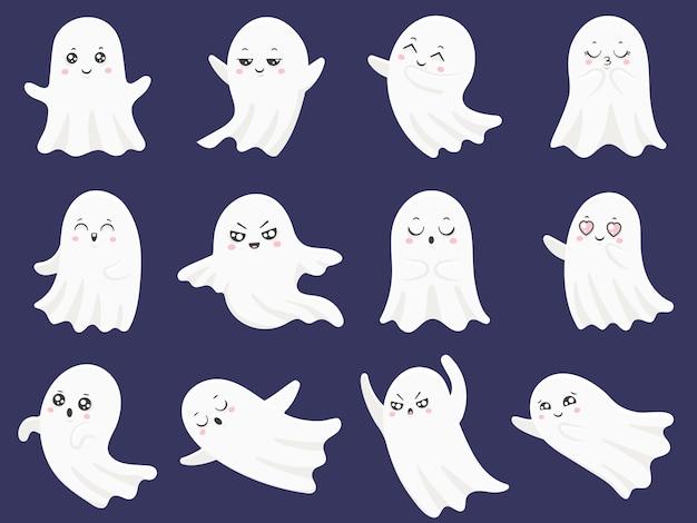 かわいいハロウィーンの幽霊セット Premiumベクター