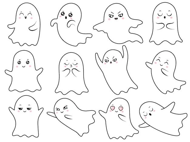 Симпатичные каваи призрак Premium векторы