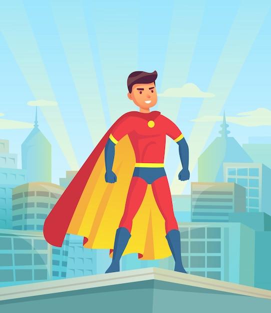 都市を見て漫画のスーパーヒーロー Premiumベクター