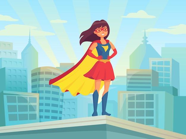 Супер женщина смотрит на город Premium векторы