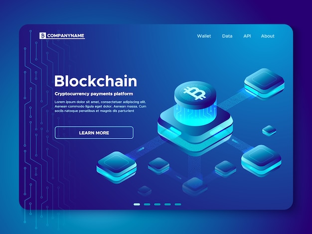 ブロックチェーン構成のランディングページ Premiumベクター