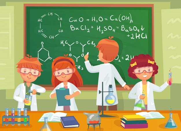 学校の子供たちは化学を勉強します。実験室の漫画イラストで科学を勉強している子どもたち Premiumベクター