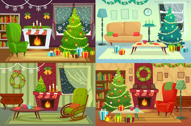 Рождественские комнаты. украшение дома, подарки санта под традиционным деревом в иллюстрации интерьера дома Premium векторы