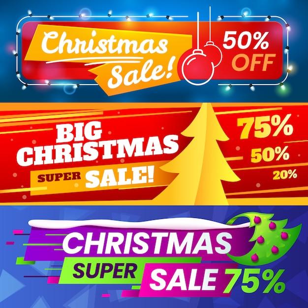 クリスマスマーケティングの広告、冬のホリデーセール、季節限定のスペシャルバナーの広告 Premiumベクター