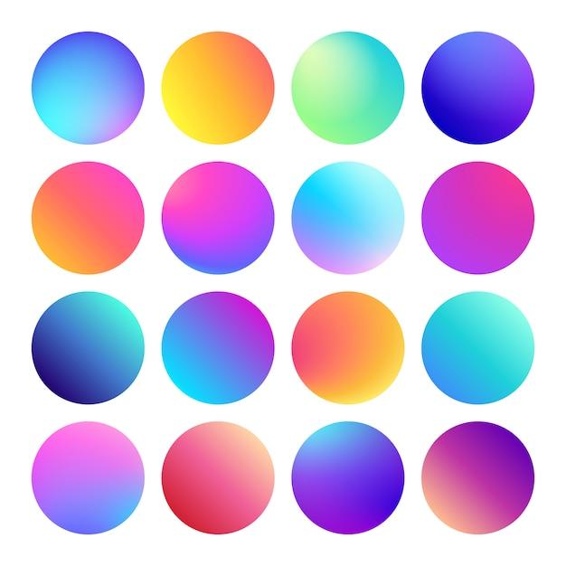 丸みを帯びたホログラフィック勾配球多色円グラデーション Premiumベクター