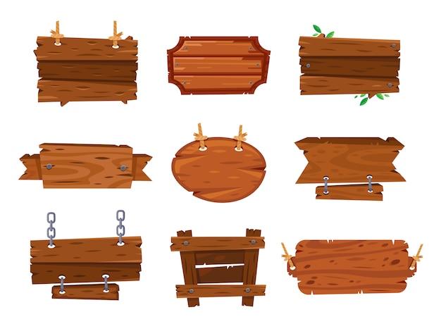 Мультфильм деревянные доски знаки и коричневые деревянные баннеры. Premium векторы