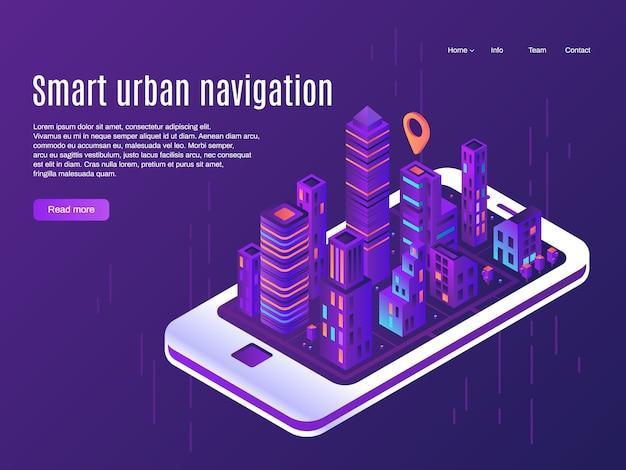 スマートな都市ナビゲーション。スマートフォンの画面上の都市平面図、都市のストリートプランと町地図ベクトルランディングページの概念を構築 Premiumベクター