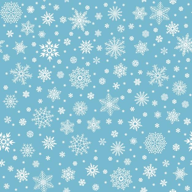 雪片のシームレスなパターン。冬の雪のフレーク星、立ち下がり雪、雪が降った雪 Premiumベクター