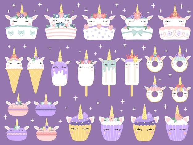 ユニコーンのデザート。ユニコーンマカロン、おいしいベーカリーケーキ面白いチョコレートカップケーキとドーナツ。レインボーアイスクリームとカップケーキベクトルセット Premiumベクター