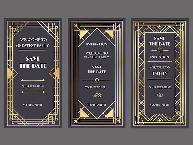 アールデコやギャツビースタイル、黄金の装飾品で豪華な結婚式の招待カード Premiumベクター