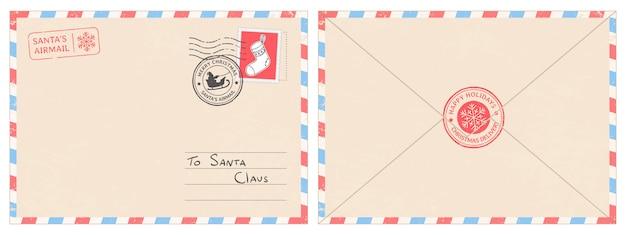 親愛なるサンタクロース郵便封筒 Premiumベクター