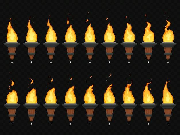 Факел огня анимация Premium векторы
