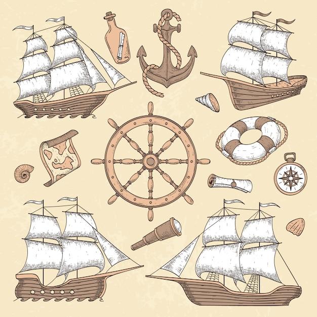 ヴィンテージ船舶 Premiumベクター