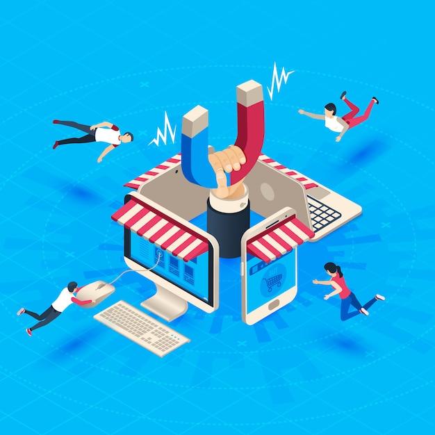 Привлечение клиентов интернет-магазина Premium векторы
