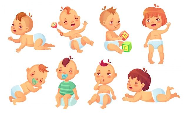 かわいい赤ちゃん。幸せな漫画の赤ちゃん、笑顔と笑っている幼児分離文字セット Premiumベクター