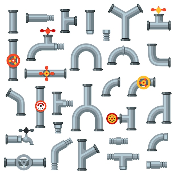 Плоские трубы. масляная трубка с манометром, металлическим трубчатым манометром и сливным штуцером Premium векторы