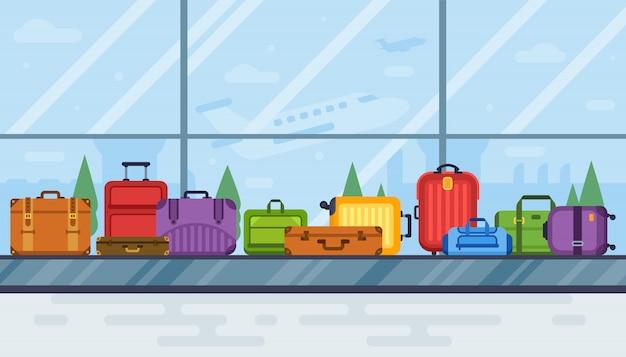 Камера хранения багажа в аэропорту. конвейер каруселей ленточный сканер багажа в салоне аэропорта, авиаперевозка Premium векторы
