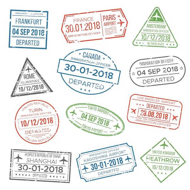 Визовый паспорт штамп для путешествий. Premium векторы