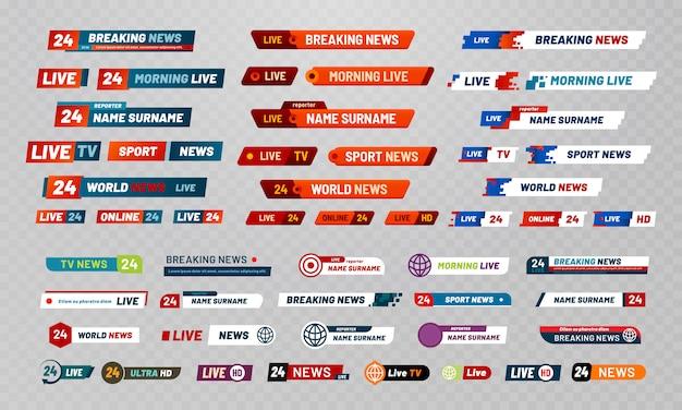 テレビ放送のタイトル。テレビ放送チャンネルバナー、ショータイトル、ニュースライブビデオバナーセット Premiumベクター