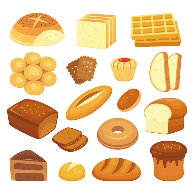 漫画のベーカリー製品。トーストパン、フレンチロール、朝食ベーグル。全粒粉パン、菓子パン、パンセット Premiumベクター