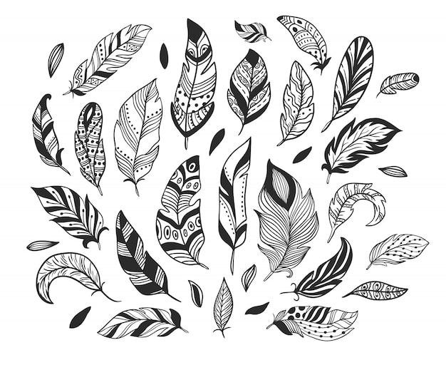 Ручной обращается перья. эскиз перо птицы, ретро художественный рисунок пером чернил и птицы, оперение изолированных набор Premium векторы