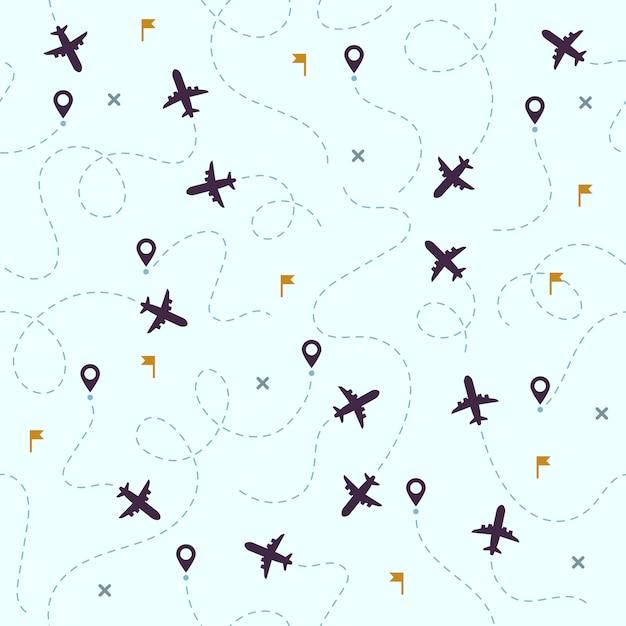 Шаблон полетов самолетов. самолеты, авиа, маршруты путешествий и авиация бесшовные Premium векторы