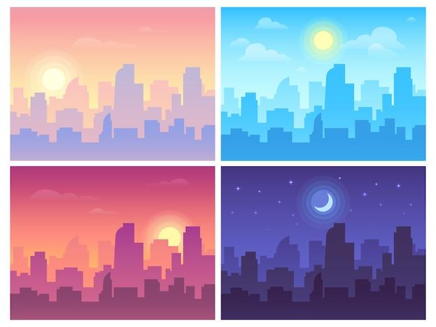Дневной городской пейзаж. утренний, дневной и ночной городской пейзаж, городские здания в разное время и городской фон Premium векторы