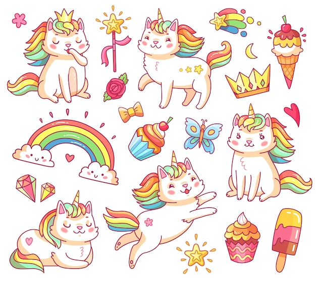 クラウン、甘いカップケーキ、アイスクリーム、虹、雲の中の魔法のユニコーン猫。 Premiumベクター