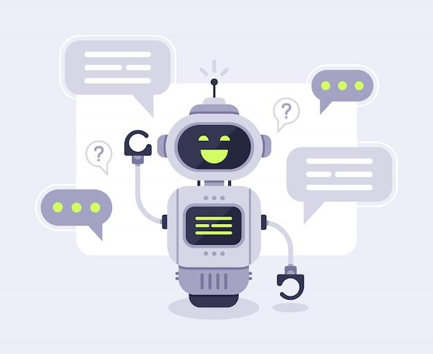 チャットボットメッセージ。スマートチャットボットアシスタントの会話、オンラインの顧客サポートロボットとマシンボットイラストの話 Premiumベクター