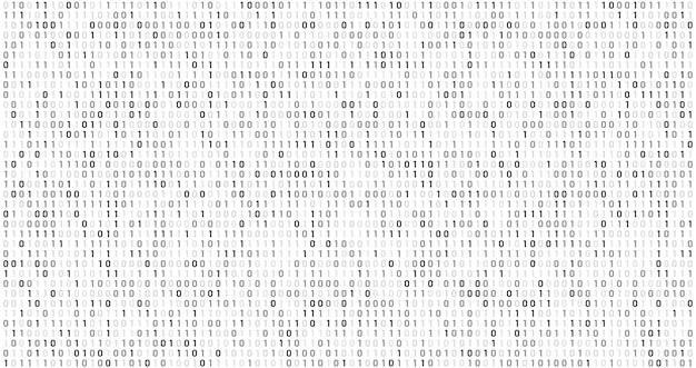 バイナリ行列コード。コンピューターデータストリーム、デジタルセキュリティコード、グレーコーディング情報の抽象的な背景 Premiumベクター