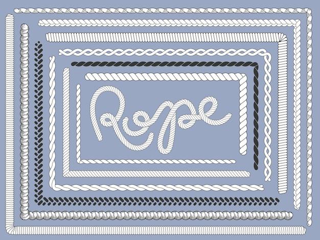 ロープブラシ。マリンロープ、編み紐ひもテクスチャ編みロープブラシ分離セット Premiumベクター