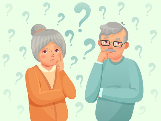 Мышление старших пара. смущены пожилые люди. дедушка, бабушка забывают и пытаются вспомнить карикатуру иллюстрации Premium векторы