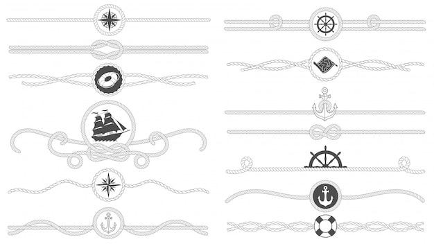 航海ロープの境界線。航海の縛られたロープライン、海船アンカーディバイダーとレトロな海洋装飾ボーダー分離セット Premiumベクター