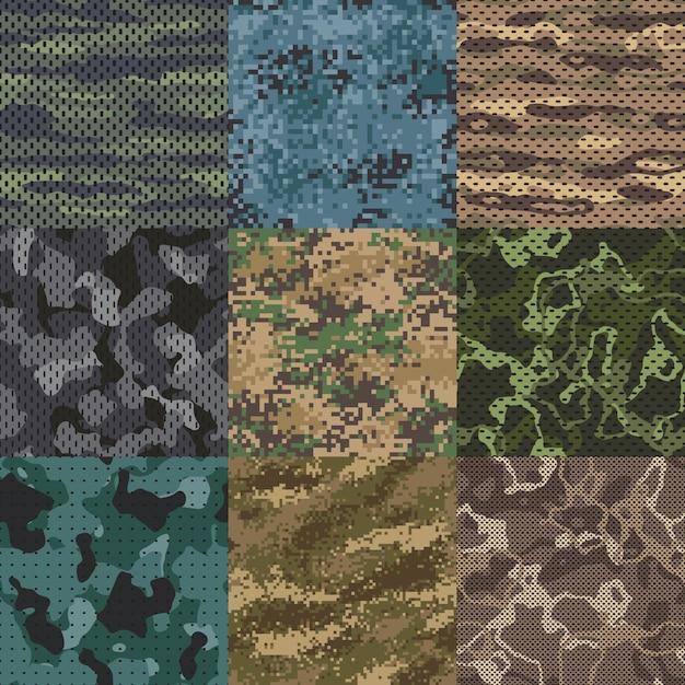 カーキ色のテクスチャ。迷彩生地のシームレスパターン、軍服のテクスチャと軍隊の印刷パターン Premiumベクター