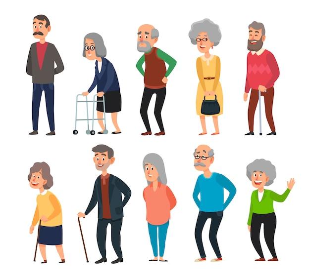 Старый мультфильм пожилых людей. пожилые люди, морщинистый старший дедушка и ходьба бабушка с седыми волосами, изолированных иллюстрация набор Premium векторы