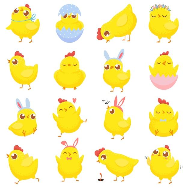 イースターのひよこ。春の赤ちゃん鶏、かわいい黄色のひよこ、面白い鶏分離漫画イラストセット Premiumベクター