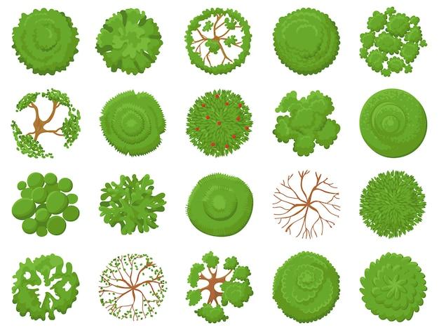 トップビューツリー。緑の木々、公園の地図の植生、熱帯林の地図を植栽するイラストセットの上から表示 Premiumベクター
