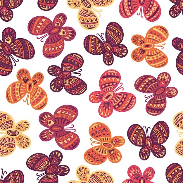 白地にカラフルな華やかな蝶のシームレスパターン Premiumベクター