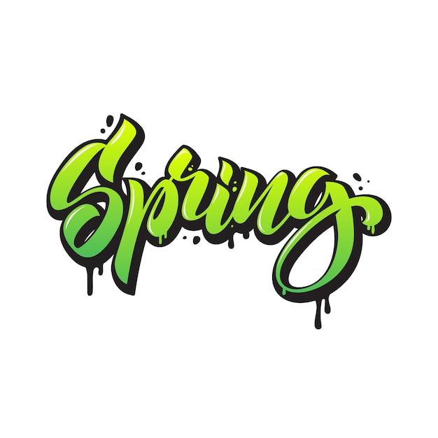 春。落書きスタイルの季節のレタリング。分離された手描きの書道 Premiumベクター