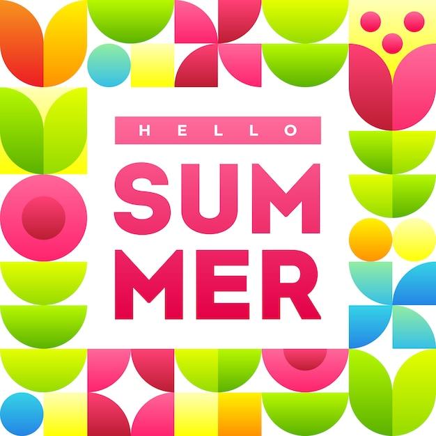 こんにちは夏。テキストと抽象的な花を持つスタイリッシュなフレームのバナーテンプレート。 Premiumベクター