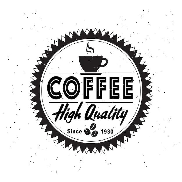 ビンテージスタイルのファッション白い背景の上のコーヒーショップのロゴ。 Premiumベクター