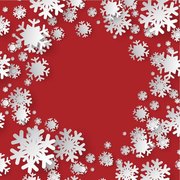 Цвета бумаги вырезать из снежинки на красном фоне богато украшенный Premium векторы