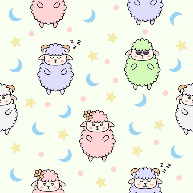 かわいい羊のキャラクターとのシームレスなパターン Premiumベクター