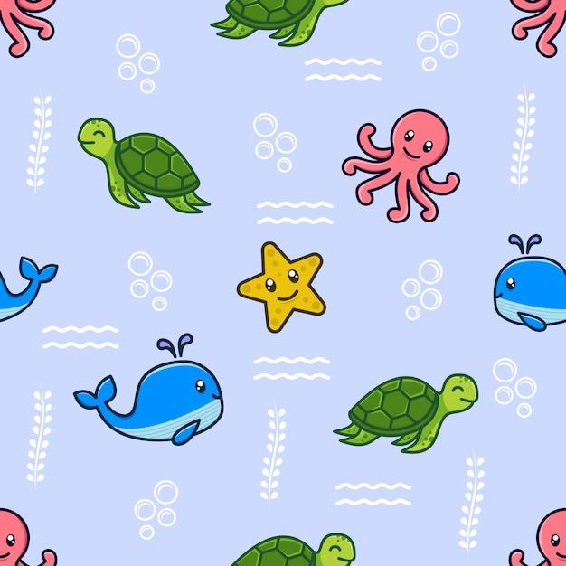 海の動物のキャラクターとのシームレスなパターン Premiumベクター