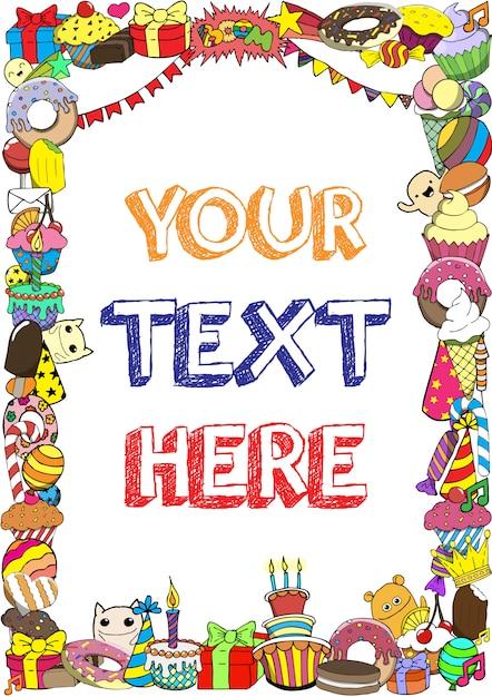 お菓子とグリーティングカード誕生日パーティーは、背景をいたずら書き。 Premiumベクター
