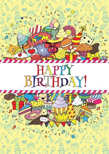 Набор поздравительных открыток на день рождения с конфетами и рисунками границ Premium векторы