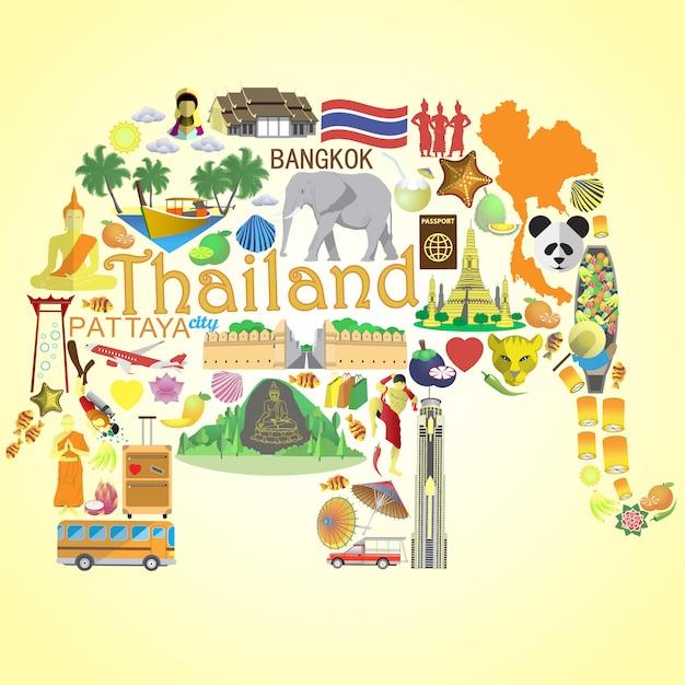 Тайский слон сетиконы и символы таиланда Premium векторы