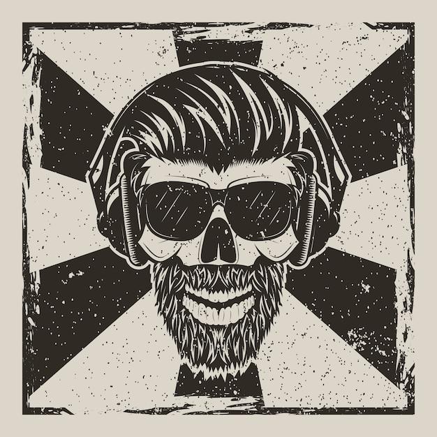 口ひげとあごひげ音楽を聴いてメガネの人間の頭蓋骨 Premiumベクター