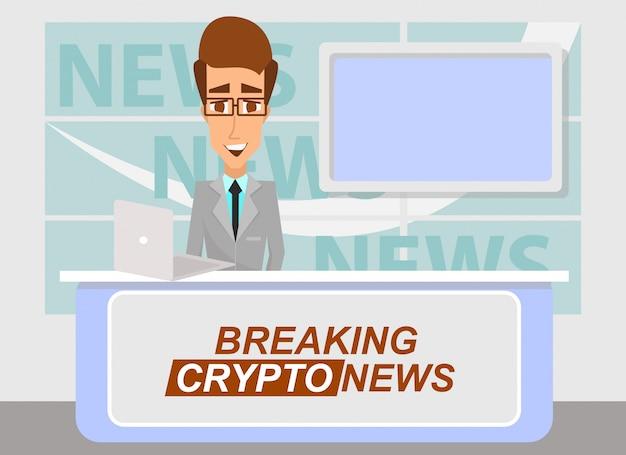 Ведущий новостей, транслирующий последние важные криптовалюты от телестудии. Premium векторы